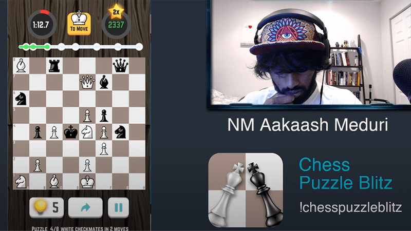 Aakaash plays chess puzzle blitz
